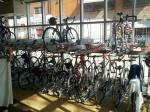 Commuters' bicycles in storage inside The Bike Rack