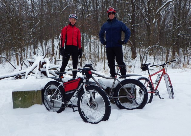 Snow bike riding on the Ohio & Erie Canal Towpath Trail