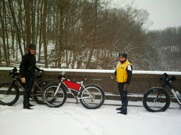 A stop at Brandywine Falls while snow biking on the Bike and Hike Trail