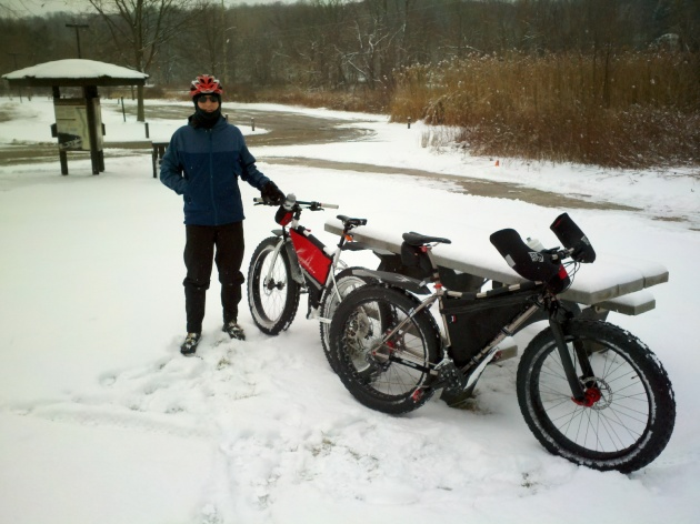 The Botzum Trailhead, on a snow bike ride on the Towpath Trail