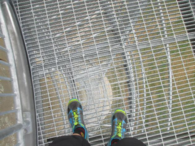 Looking down through the open-grate platforms on Rastin Observation Tower in Mount Vernon, Ohio