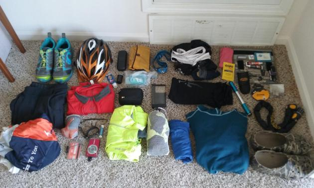 Gear laid out before heading for a credit-card bikepacking trip on the Ohio to Erie Trail
