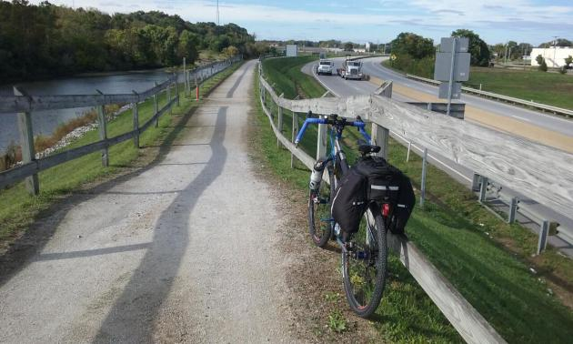 Traveling north on the Ohio & Erie Canal Towpath Trail from downtown Massillon, Ohio