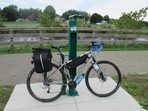 Bike repair station at the Wilbeth Road Trailhead on the Ohio & Erie Canal Towpath Trail