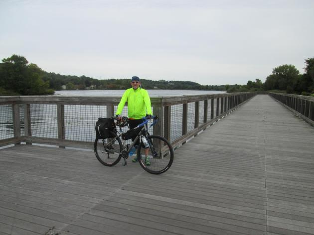 The floating bridge over Summit Lake on the Ohio & Erie Canal Towpath Trail