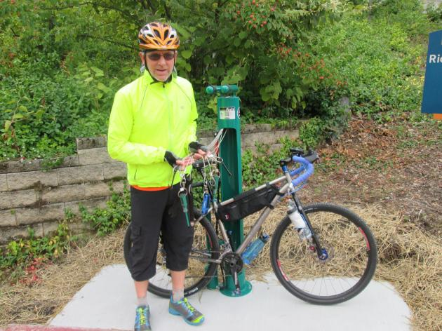 Bicycle repair station near the Richard Howe House on the Ohio & Erie Canal Towpath Trail in downtown Akron, Ohio