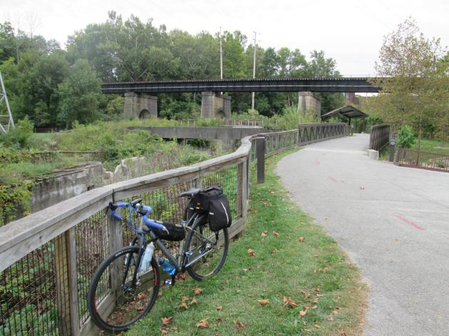 Looking south on the Ohio & Erie Canal Towpath Trail in Cascade Locks Park in Akron, Ohio