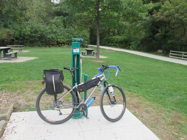 Bike repair station at the Memorial Parkway Trailhead on the Ohio & Erie Canal Towpath Trail
