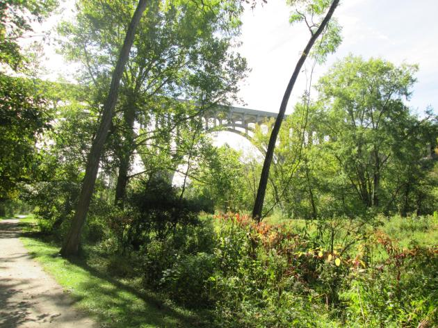 The Brecksville-Northfield High Level Bridge as seen from the Ohio & Erie Canal Towpath Trail in the Cuyahoga Valley National Park
