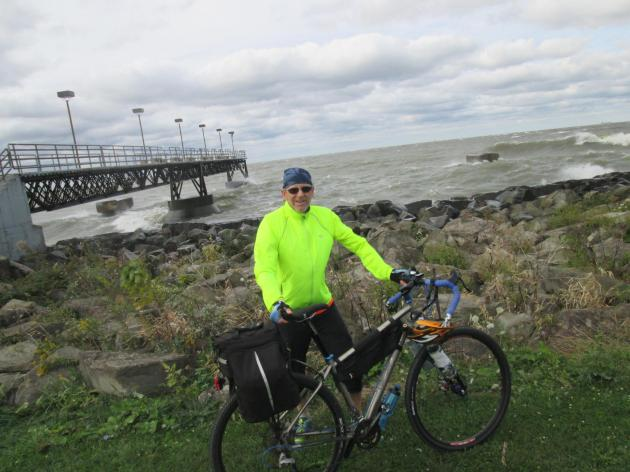 At the end of the Ohio to Erie Trail at Edgewater Park in Cleveland, Ohio